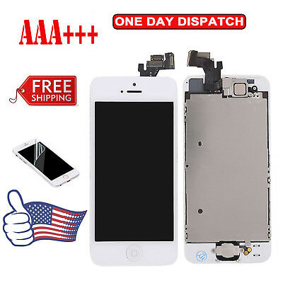 For iPhone 5 White LCD Touch Digitizer Screen Replacement Assembly & Home Button