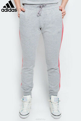 ADIDAS WOMEN GREY Pink Stripes Joggers Sweat Pants Tracksuit
