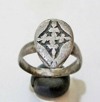 "ANCIENT BYZANTINE SILVER  RING."" Cros """
