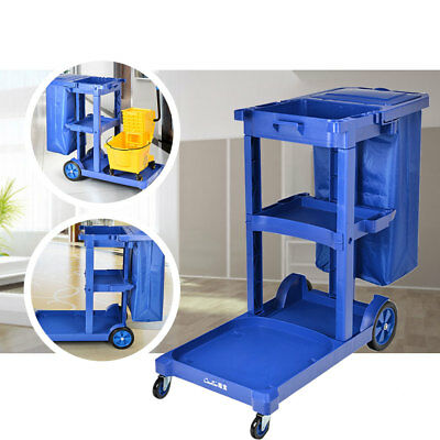 Blue Commercial Housekeeping Janitorial cart with Vinyl Bag &Cover Cleaning Tool