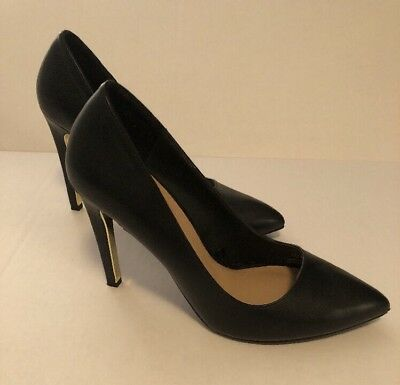 802c9ed46f42 New Zara Trafaluc Faux Leather High Heels Court Shoes V shape Black Gold  8.5, 39