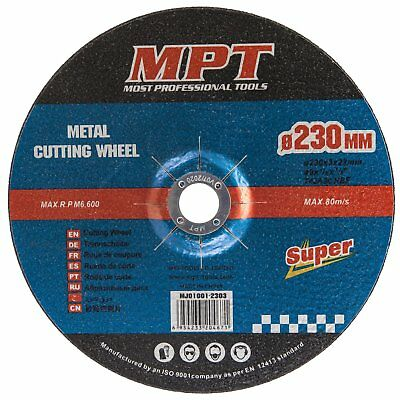MPT 20x Metal Cut Off Wheel 230mm x 22 Thin Angle Grinder Cutting Disc Blade