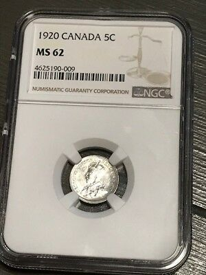 1920 5 cents Canada NGC MS 62