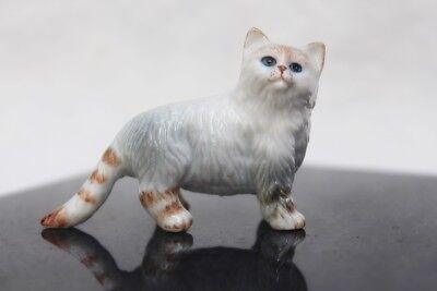 Figurine Ceramic Animal White Cat Hand Painted Miniature Statue Collectible Gift