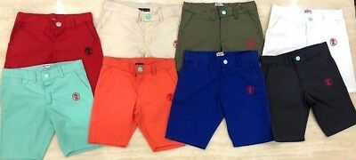 Boys Shorts Kids Chino Summer 100% Cotton Shorts 4 Colours Size 3-13 Years New