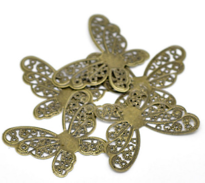 New 20 Bronze Tone Filigree Butterfly Wraps Connector Embellishment 4.3x3.3cm