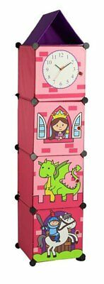 Toy Storage Four4Compartments Box With Working Clock and Doll theme for Girls