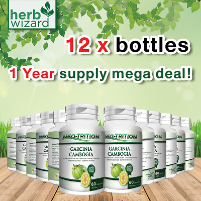 12 x BOTTLES 3000mg Daily ❤ GARCINIA CAMBOGIA Capsules Super Weight Loss Diet