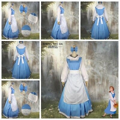 New Adult Beauty and the Beast Belle Blue Maid Fabcy Dress Cosplay Costume AU