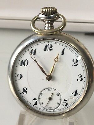 Vintage Early  German Junghans Open Face Pocket Watch 800 silver