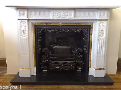 antique  Victorian carved statuary white marble fire surround with sienna