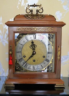 Vintage Walnut Westminster Bracket Clock with Ormolu Fittings Working Condition