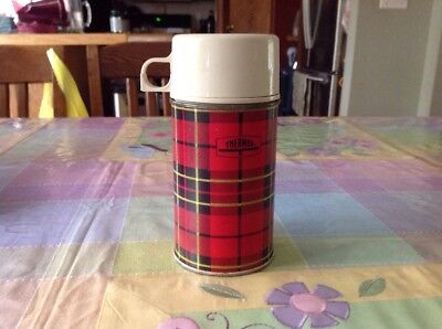 Vintage Plaid 1/2 Pint Thermos Bottle King Seeley Thermos Co. 1964