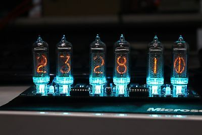 NIXT CLOCK - IN14 Nixie Clock With Power Supply Remote Temp Sensor RGB Led