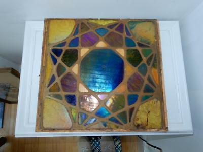 Antique Mosaic Art Glass panel large  15 x 15 wall tile Tiffany style  star Blue