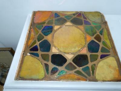 Antique Mosaic art glass panel large 15 x 15 wall tile Tiffany Style  star Gold