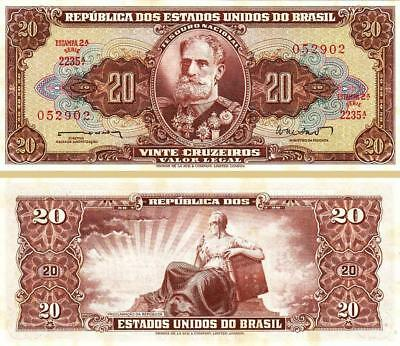 Brazil 20 Cruzeiros 1962 Unc 2 Pcs Consecutive Pair P-178 With Very Little Tone