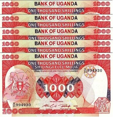 Uganda 1000 Shillings 1986 Unc 5 Pcs Consecutive Lot P-26