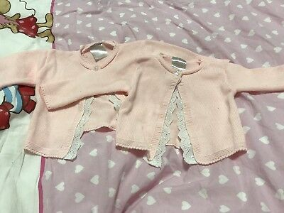 Zwillinge •• 2 Rosa Strickjacke 6M Von Barbouillage