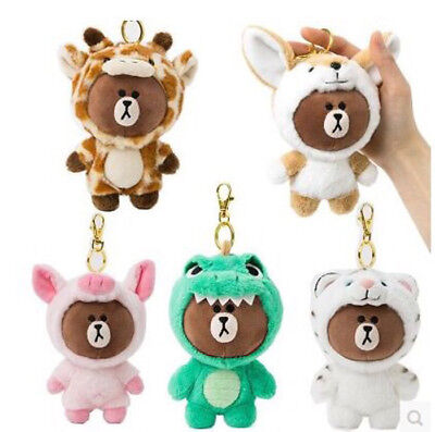 Line Friends Brown Dinosaur Costume Plush Key Chain Ornament Doll Toy 8 Choices