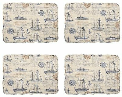 """Reversible Quilted Sailboats Placemats Coastal Set of 4 Nautical 12.5""""L x 17.5""""W"""