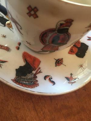 Antique Cup & Saucer Porcelain Hand painted Figures Greek Revival 18th or 19th C