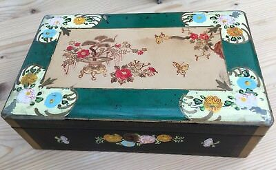 Vintage 1950's Painted Black Lacquer Wooden Japanese / Chinese Jewellery Box
