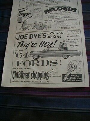 1963 ford newspaper ad local dealer auto print ad shows a 1964 ford car