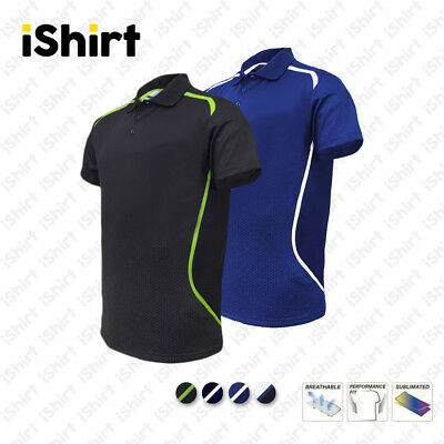 Mens Polo Shirt 100% Polyester Cool Dry Breathable Sublimated Sports Polo