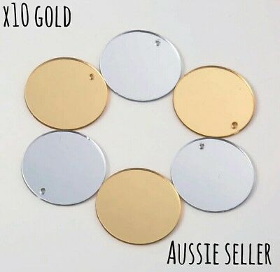 10 Gold Round Mirror Drop Earrings Jewellery Charm 25mm Acrylic Hole Pendant DIY