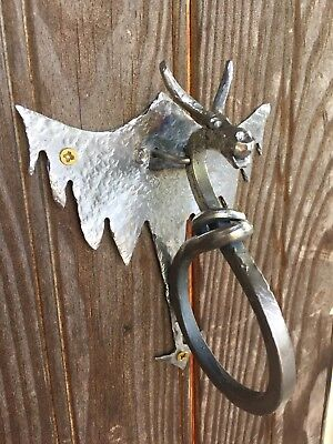 Hand Forged Custom Winged Dragon Door Knocker.