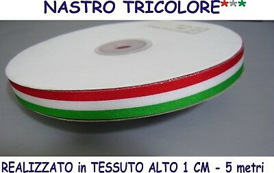 NASTRO ITALIA TRICOLORE TESSUTO mt. 5  Larg 1,00 cm Evento Party Festa