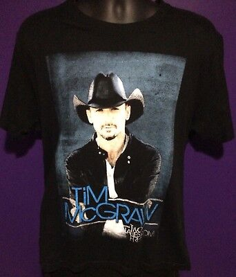 Tim McGraw Country Singer Men's Concert Two Lanes of Freedom T-Shirt Black Large