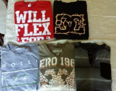 Lot of 5 Young Men's Shirts SizeS. Hollister, Aeropostale, American Crusader, DC