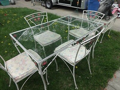 Woodard Vintage Patio Iron and Glass Dining Table & Chair Set with side table