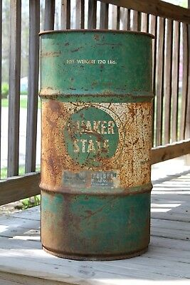 """Vintage Quaker State Oil Drum Barrel 27"""" x 14"""" Old Rusty Advertising"""
