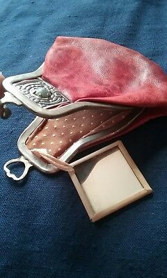 antique leather coin purse with mirror  Rare
