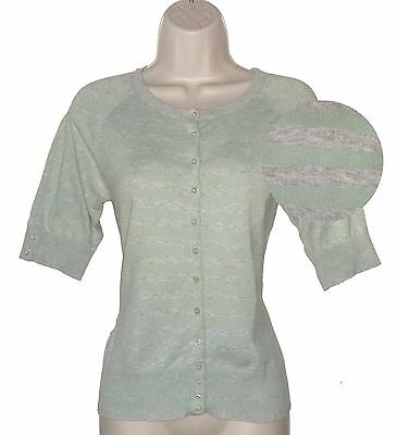 d4c33397ec Monsoon Grey   green striped button up 1 2 sleeved cardigan cotton mix-Size