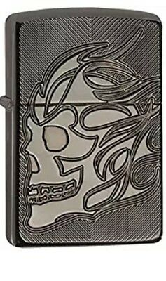 Zippo Armor Deep Cut Skull Lighter 29230 Orange Seal intact gift boxed