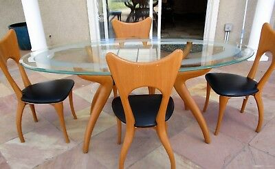 Danish Modern dining set Oval Table 4 Chairs Maple wood Veneer Curved Carved Leg