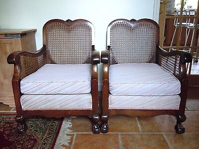 Pair Antique Cane/bergere Arm Chairs, Collect From Stratford On Avon, Warks.