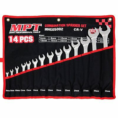 MPT Spanner Set Combination 14pc 6-32mm SP PRO Cr-V Tools Metric with Roller Bag