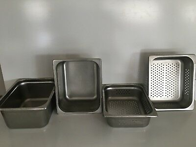 4 X Bain Marie Tray Steam Pan Gastronorm 1/2 Size 150mm Deep Stainless Steel