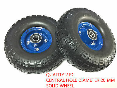 "2 pc x 3.10 "" - 4 ""  x (10"") SOLID RUBBER  WHEEL""S Tyre (20mm centre )-BRAND NEW"