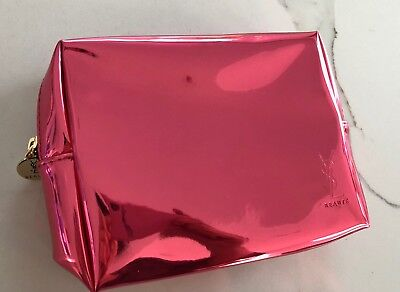 YSL Yves Saint Laurent METALLIC patent pink Cosmetic MAKEUP Toiletry Bag  CASE f2f4632f97575