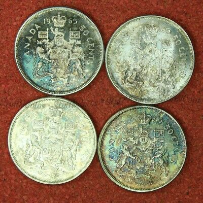 Lot Of 4 Canada 1965 Fifty 50 Cent Half Dollar Silver Coins