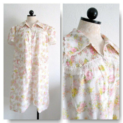 Housecoat Robe Barbizon Gay Nell Celestra Broadcloth Mod Floral Print Zip Front