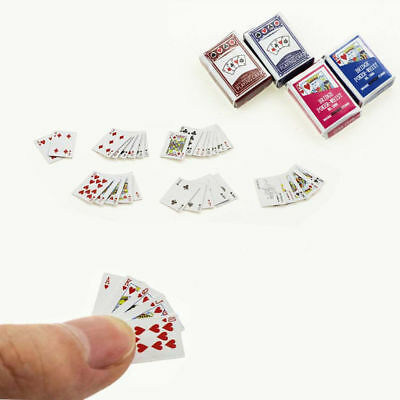 1Set Miniature Playing Cards Mini Poker Game Dollhouse 1/12 Scale Accessory Pop