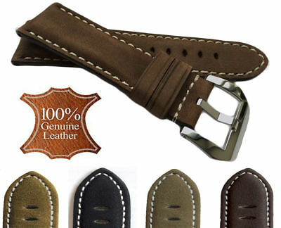 Unisex Men Women Genuine Leather Nubuck Watch Strap Matte Band 18/20/22/24mm