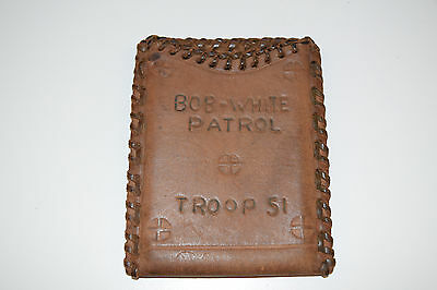 Vintage Hand Made Leather Authentic Boy Scouts Wallet Bob White Patrol Troop 51